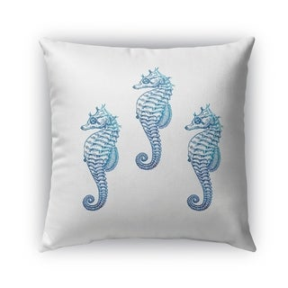 Kavka Designs blue seahorse 3 outdoor pillow by terri ellis with insert