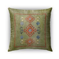 Kavka Designs green; red baize green distressed outdoor pillow with insert