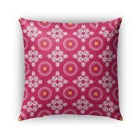 Kavka Designs pink; white; yellow scrolled floral outdoor pillow by terri ellis with insert