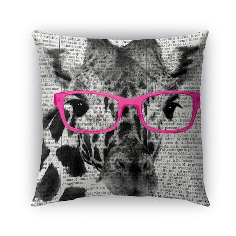 Kavka Designs pink; black; white giraffe in pink glasses outdoor pillow with insert