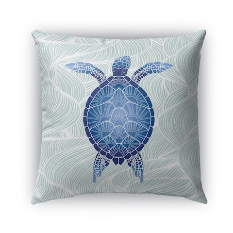 Kavka Designs blue; green turtle outdoor pillow by Terri Ellis