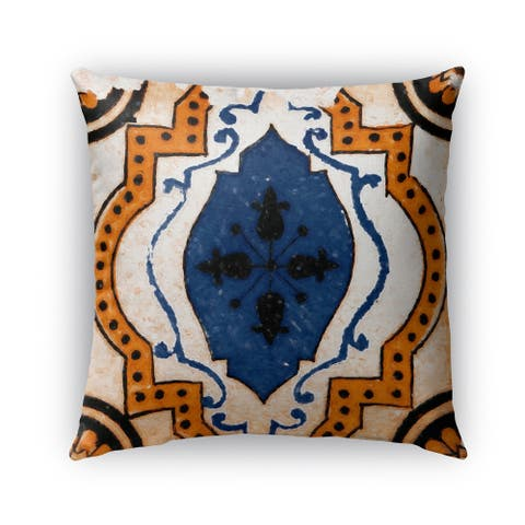 Kavka Designs blue; orange moroccan blue tile outdoor pillow with insert
