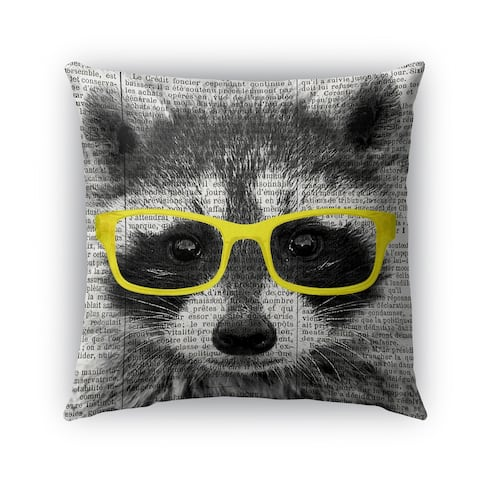 Kavka Designs yellow; black; white racoon in yellow glasses outdoor pillow with insert