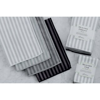 Grey Stripe Microfiber Dishtowel (Set of 4)