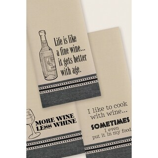 Wine Wit & Wisdom Printed Dishtowel (Set of 3)