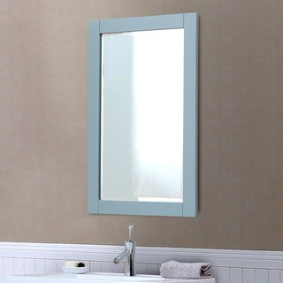 """Contemporary Style 22""""W x 34""""H Bevel Edge Wall Mirror in Grey Blue Finish"""