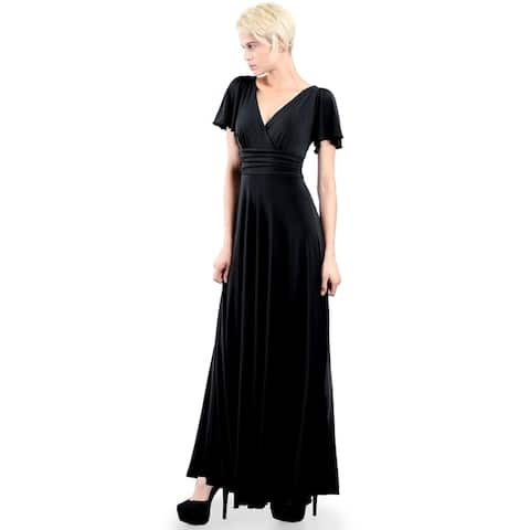 Evanese Women's Plus Size Formal Long Dress Gown with Short Sleeves