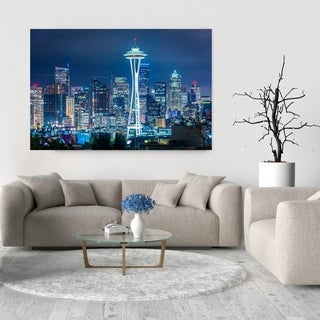 Noir Gallery View of the Seattle Skyline at Night Fine Art Photo Print