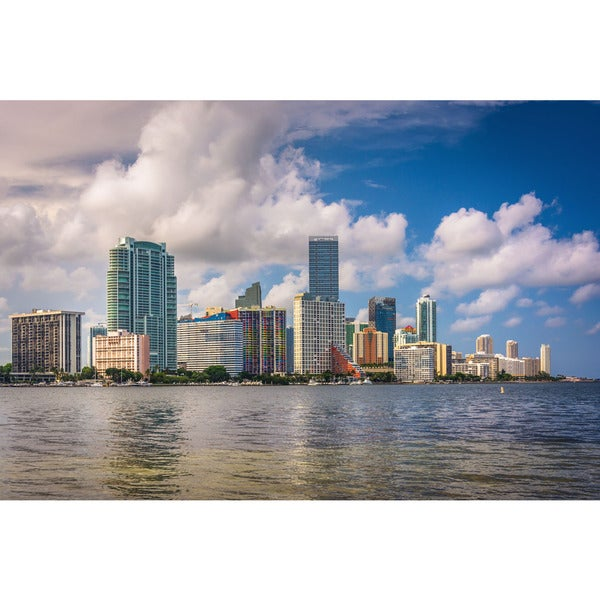 Noir Gallery View of the Miami, Florida Skyline Fine Art Photo Print