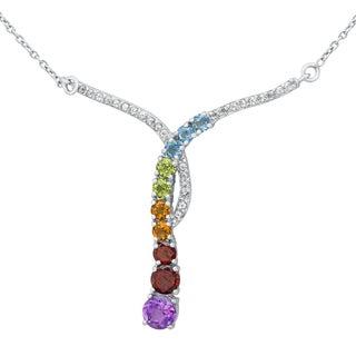 Beverly Hills Charm Sterling Silver 3 1/2 carat Natural Gemstones Y Necklace