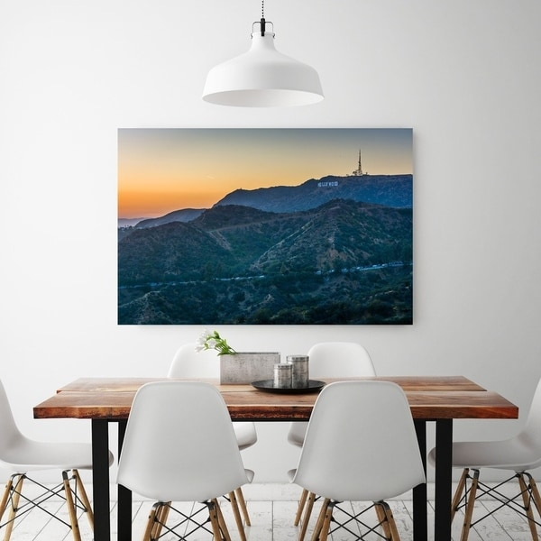 Noir Gallery View Of The Hollywood Sign In Los Angeles Fine Art Photo Print Blue