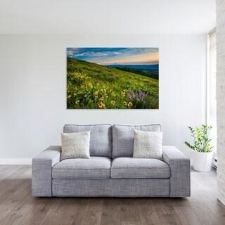 Noir Gallery Wildflowers and Mount Hood in Oregon Fine Art Photo Print - Green/Blue