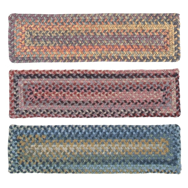 100 Percent Wool Rectangle Braided Stair Tread (8 Inch X 28 Inch)