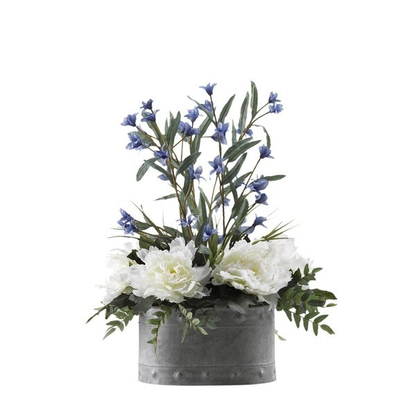 D&W Silks Cream/Pink Peonies and Blue Wild Flowers in Oval Metal Planter