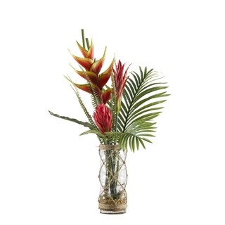 D&W Silks Heliconia, Ginger and Protea with Hawaiian Palm Fronds in Glass Vase Wrapped in Rope