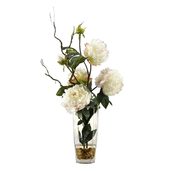 D&W Silks Large White Peonies in Glass Vase