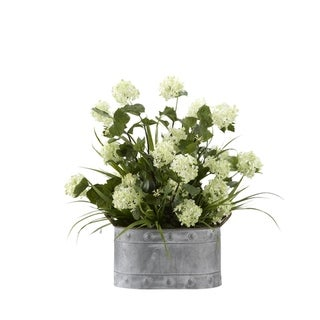 D&W Silks Snowball Branches with Grass in Oval Metal Planter