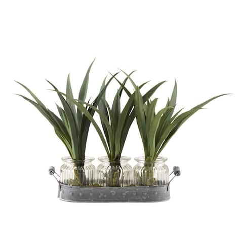 D&W Silks Green Lily Grass in Glass Jars Set on Oval Metal Tray