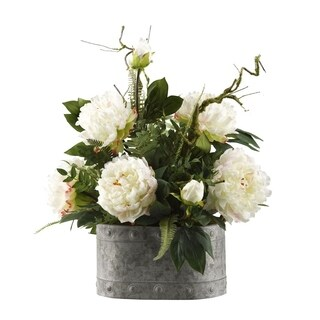 D&W Silks Large White Peonies in Oval Metal Planter