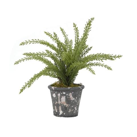 D&W Silks Heather Plant in Round Rustic Terra Cotta Pot