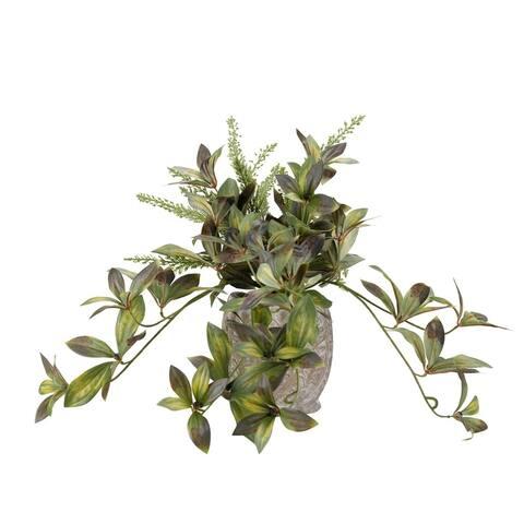 D&W Silks Peony Foliage with Heather Fern in Ceramic Planter