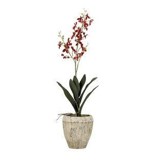 D&W Silks Red Baby Dendrobium Orchid in Round Aged Cement Planter