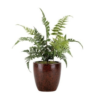 D&W Silks Small Leather Fern in Round Ceramic Planter