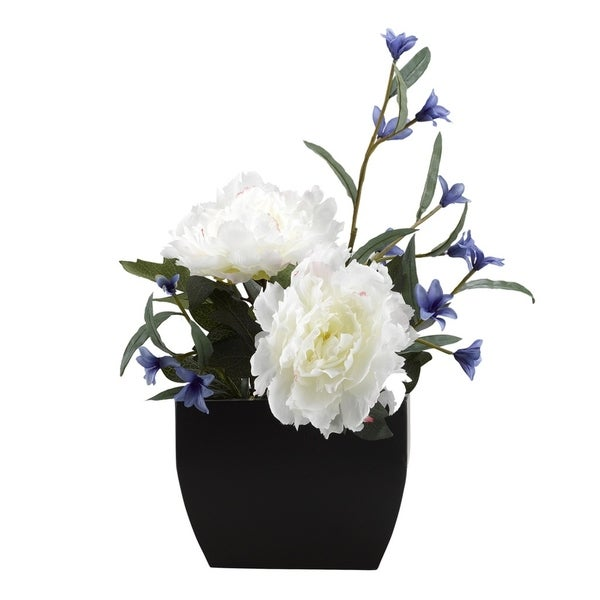 D&W Silks Cream Peony with Blue Wild Flowers in Rectangle Metal Planter. Opens flyout.