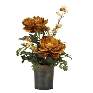 D&W Silks Caramel Brown Peony in Rustic Ceramic Planter