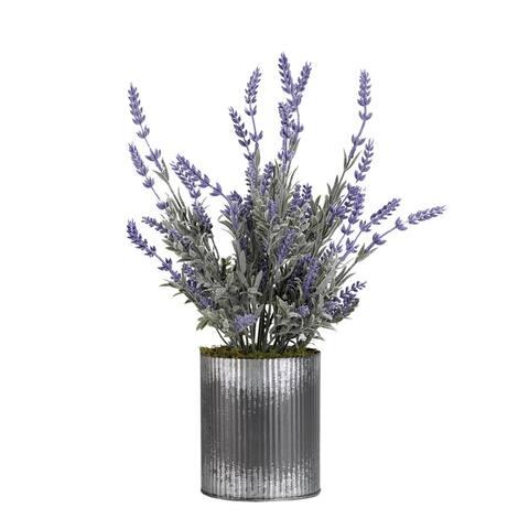 D&W Silks Lavender in Round Tin Planter