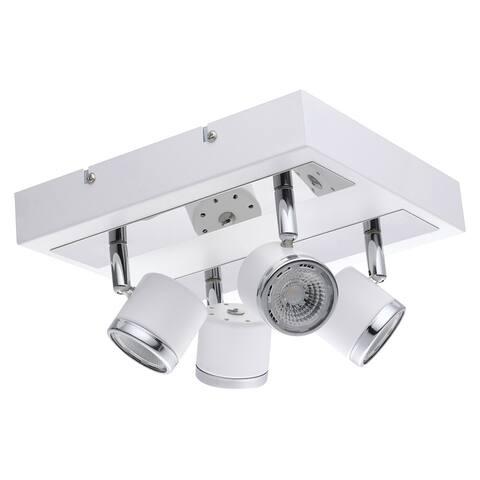Eglo Pierino 1 White and Chrome 4-Light LED Square Flush Mount Track Light