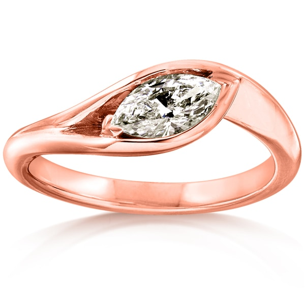 Annello by Kobelli 14k Rose Gold 1/2 Carat Marquise Diamond Engagement Ring