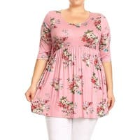 Women's Plus Size Floral Pattern Ruffled Top