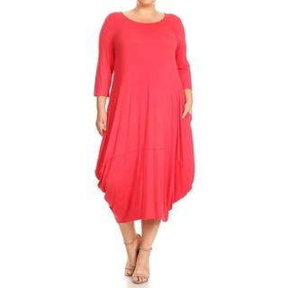 Women's Plus Size Solid Draped Dress|https://ak1.ostkcdn.com/images/products/16965509/P23251626.jpg?impolicy=medium
