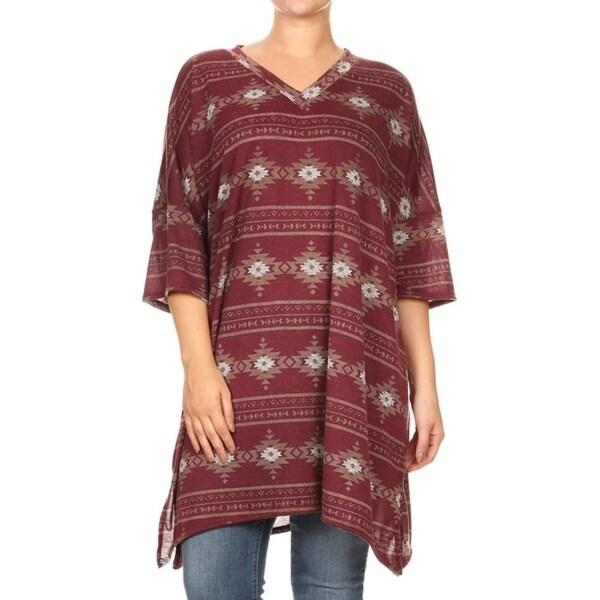 Women's Plus Size Native Pattern Tunic Style Dress