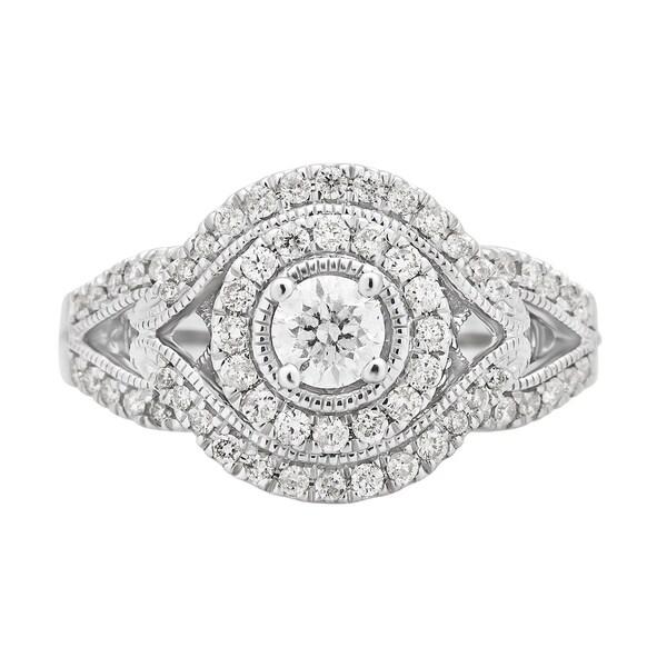 Divina 14K White Gold 7/8ct TDW Diamond Engagement Ring.(H-I,I1-I2)