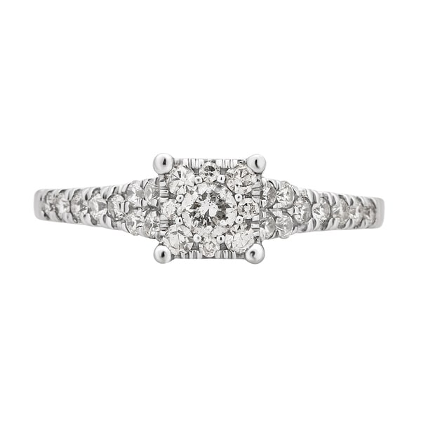 Divina 10K White Gold 5/8ct TDW Diamond Engagement Ring.(H-I,I1-I2)