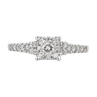 Divina 10K White Gold 5/8ct TDW Diamond Engagement Ring.(H-I,I1-I2)