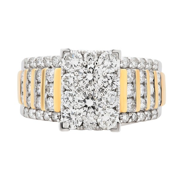 Divina 14K TwoTone Gold 2.0ct TDW Diamond Engagement Ring.(H-I,I2-I3)