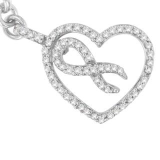 Sterling Silver 1/4ct TDW Round Cut Diamond Heart and Ribbon Charm Bracelet (H-I,I1-I2)