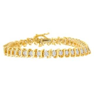 10K Yellow Gold 2ct TDW Round Cut Diamond Bracelet (I-J,I3)