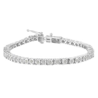 Sterling Silver 1ct. TDW Rose-cut Diamond Tennis Bracelet (I-J, I3)