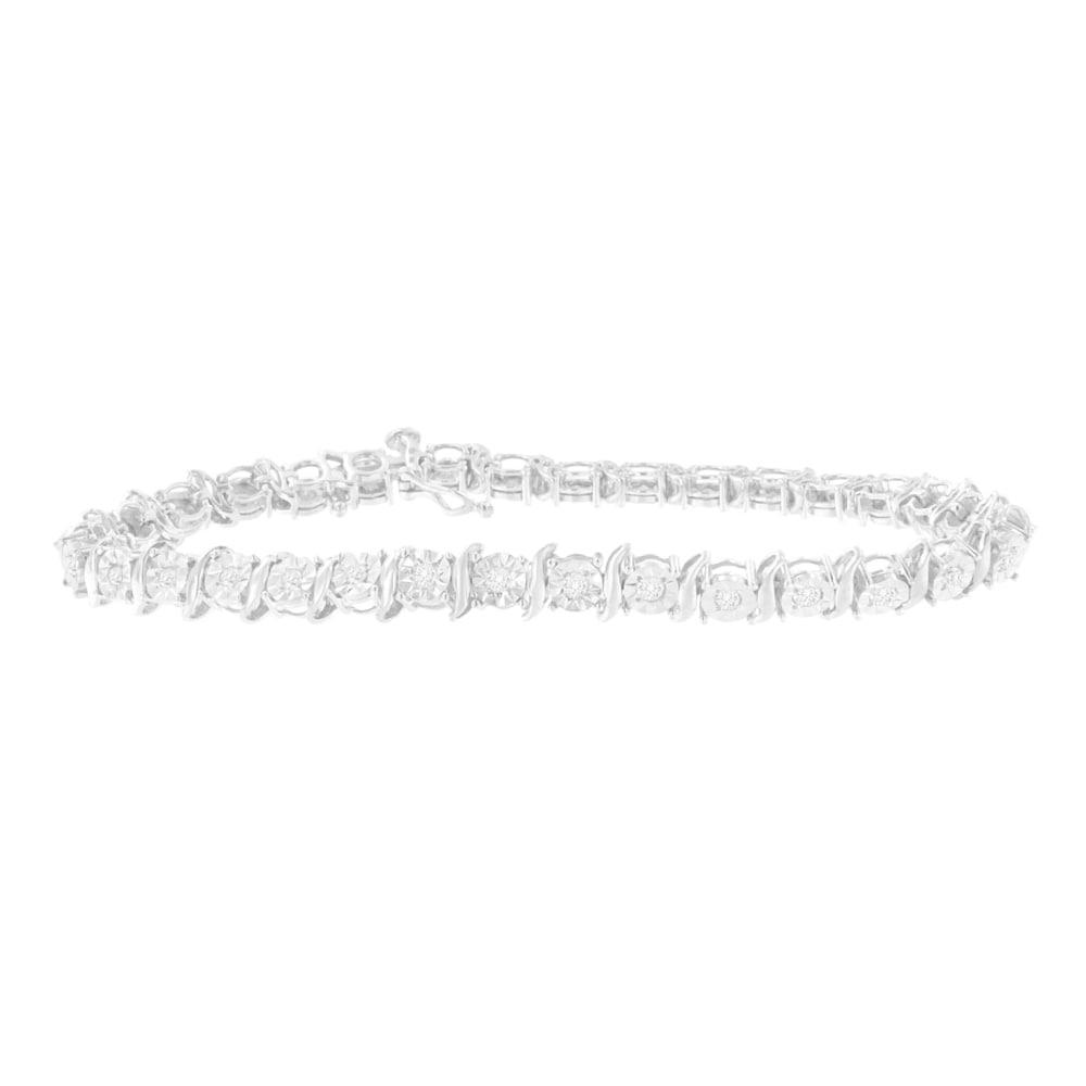 Details about  /White Ice Sterling Silver Diamond Bangle Bracelet MSRP $195