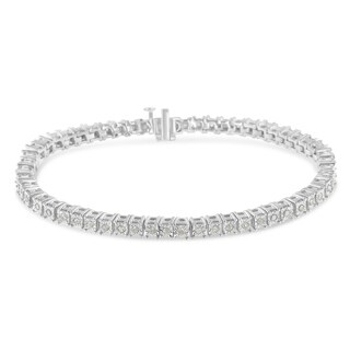 Sterling Silver 1ct. TDW Rose-cut Diamond S-Curve Bracelet (I-J, I3-Promo)