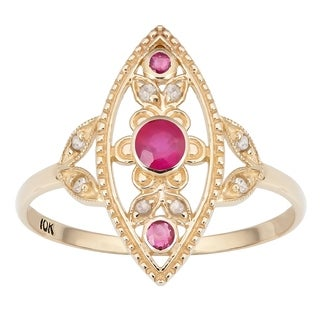 Viducci 10k Yellow Gold Vintage Style Genuine Ruby and Diamond Ring