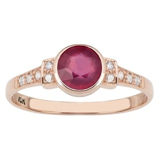 Viducci 10k Rose Gold Vintage Style Genuine Ruby and Diamond Ring