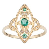 Viducci 10k Yellow Gold Vintage Style Genuine Emerald and Diamond Ring