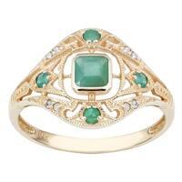 Viducci 10k Yellow Gold Vintage Style Genuine Emerald and Diamond Ring