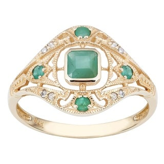 Viducci 10k Yellow Gold Vintage Style Genuine Emerald and Diamond Ring (5 options available)