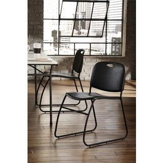 COSCO Commercial Contoured Back Black Resin Stacking Chair (Pack of 4)
